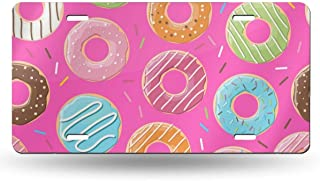 NOWDIDA License Plate, Pink Donut Decorative Car Front License Plate, Vanity Tag, Metal Car Plate, Aluminum Novelty License Plate for Men/Women/Boy/Girls Car, 6 X 12 Inch