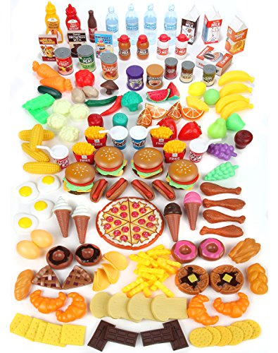 Mommy Please Play Set for Kids-Huge 202 Piece Pretend Food Toys Is Perfect Kitchen Toys-Inspire Your Toddlers Imagination + 4 Bonus Water Bottles