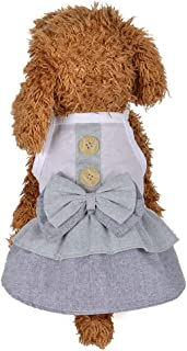 JINYEXUAN Small Dog Bow Dress Cute Puppy Pet Cotton Skirt Clothes for Summer