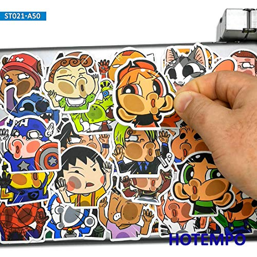 BLOUR 50pcs Gesicht Hit Glas Anime Charaktere Lustiger Stil Süße Aufkleber Spielzeug für Handy Laptop Laptop Skateboard Cartoon Aufkleber