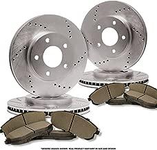 (Front+Rear Kit)(High-End) 4 Cross-Drilled Disc Brake Rotors + 8 Semi-Metallic Pads(Fits:- Toyota)(5lug)