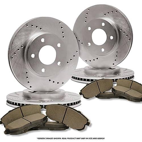 4 Semi-Met Pads 5lug Front Kit -Combo Brake Kit 2 Zinc Plated Cross Drill Disc Brake Rotors