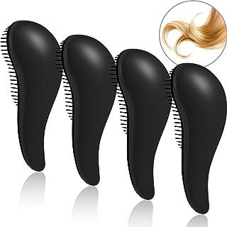 Detangling Brush, Anti-knot Massage Comb, Beauty Tools, Hair Brush Set, Pain-Free Hair Brush Straightener, 4 Pieces(Black)