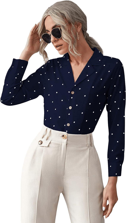Milumia Women's Elegant Polka Dots Button Down Shirt Long Sleeve Collared Work Blouse