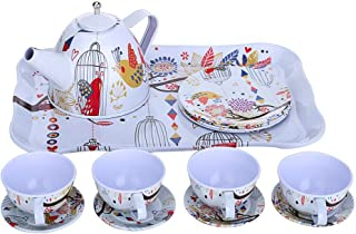 Lcyus Pretend Tea Cup Toy Set, Children's Deluxe Tea Party and Teapot Afternoon Tin Tea Set & Carry Case-Bird Flower for Kids Age 3 Years and Up (As Shown)