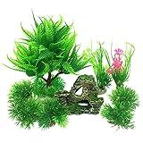 PietyPet Fish Tank Decorations Plants with Rockery view, 9pcs Green Aquarium Plants Plastic and Aquarium Mountain Reef Rock Cave Resin Fish Tank Ornament Decoration