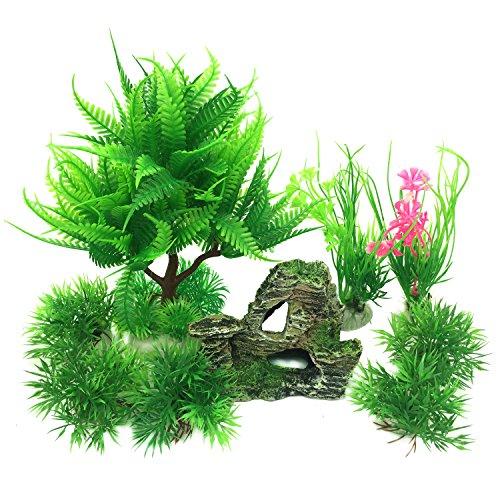 PietyPet Aquarium Wasserpflanzen Kunststoff Aquariumpflanze mit Harz Höhle Fisch Tank Ornament Dekoration, 9 Stück