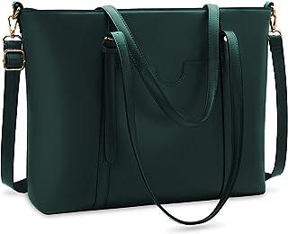 NUBILY Handtasche Shopper Damen Groß 15.6 Zoll PU Leder Shopper Grün Laptop Umhängetasche Gross Business Aktentasche Fraue...