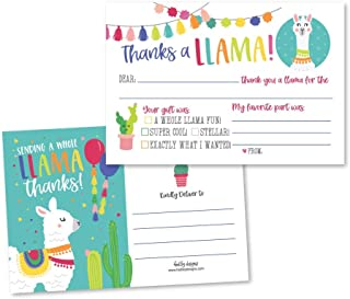 25 Llama Kids Birthday or Fiesta Party Thank You Cards, Boys or Girls Thank Yous, Alpaca Cactus Sleepover Themed, Children or Toddlers Baby First or 1st Bday Theme Supplies, Fill In the Blank Notes