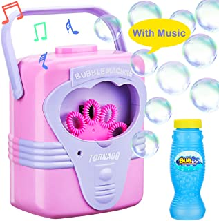 Bubble Machine With Music For Kids Children Toddlers Babies Boys Girls Automatic Durable Bubble Makers Birthday Parties Picnics Parks Bubble Blower Toys 2 3 4 5 6 Years Old Outdoor Battery Operated