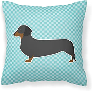 Caroline's Treasures BB3682PW1818 Dachshund Checkerboard Blue Fabric Decorative Pillow, 18H x18W, Multicolor