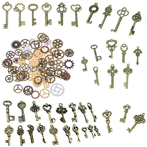 NICE ASSORTMENT OF SKELETON KEYS AND STEAMPUNK GEARS- come with 70g adorable keys in antique bronze color and 50g steampunk gear charms in mixed color, different sizes and shapes, few duplicates MATERIAL- Made of metal alloy, a good heavy metal witho...