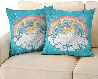 RuppertTextile Rainbow Customized Pillowcase Unicorn Hopping on Clouds Cushion W15 x L15
