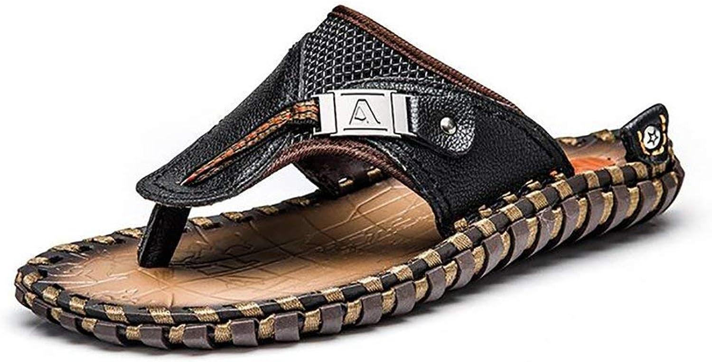 fd1722c04 FuweiEncore Men's Men's Men's Flip Flops Leather Sandals Handmade Summer  Beach Large Size Cozy Slipper, Brown, 46 (color Black, Size 44) b5b03c