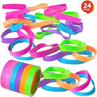 ArtCreativity Rubber Bracelets with Motivational Sayings - Pack of 24 Inspirational Wristbands for Kids and Adults, Assorted Neon Colors and Positive Sayings, Great Birthday Party Favors, Gifts