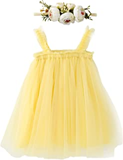 LZH Layered Dress for Toddler Baby Girl Rainbow Tutu Princess Summer Skirt with Flower Headband …