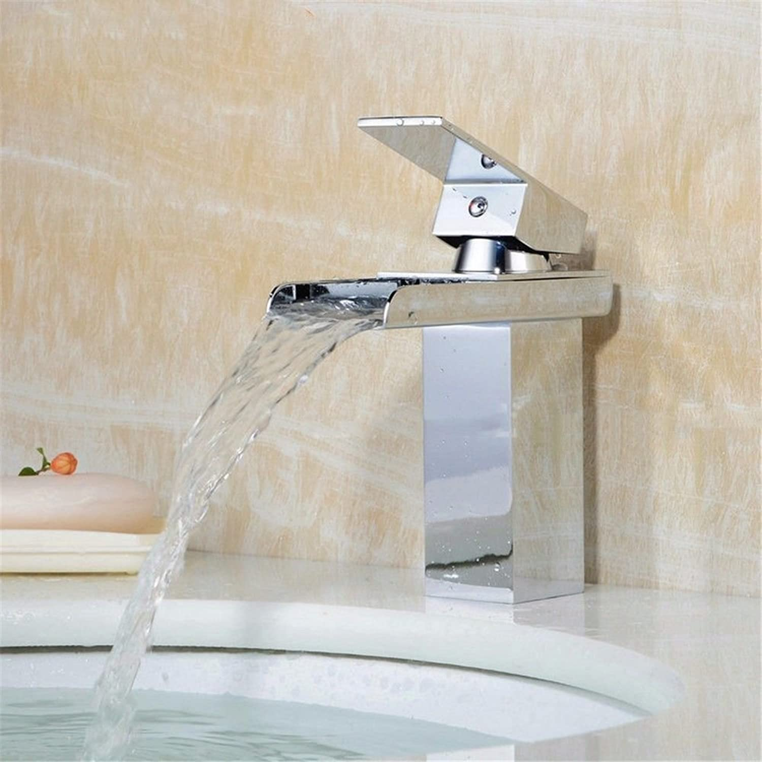 AQMMi Basin Sink Tap Bathroom Bar Faucet Waterfall Hot and Cold Water Brass Single Hole Retro Bathroom Basin Sink Faucet