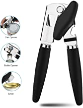 ACUTECATX Can Opener Manual Smooth Edge for Seniors With Arthritis - NO RUST Manual Can Opener Commercial Grade Stainless Steel Heavy Duty with Good Grips, Black