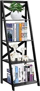 Tangkula 4-Tier Ladder Shelf Bookcase Leaning Free Standing Wooden Frame Decor Bookshelf Storage Flower Shelf Plant Display Shelf for Home Office …
