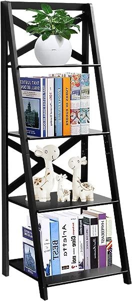 Tangkula 4 层梯子架子书柜倾斜自由站立木架装饰书架收纳花架植物展示架家用办公室