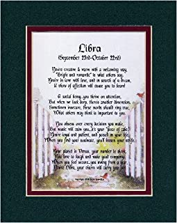 Libra Horoscope Zodiac Poem. Gift Present For 18th 21st 30th 40th 50th Birthday.