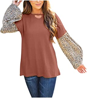 Lataw Women's Blouses Hollow Out Tops Cute Patchwork O-Neck Hooded Fashion Loose Long Sleeve Leopard Tunic Shirt Clothes Sweatshirt