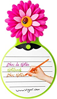 Vigar Flower Power Note Pad with Suction and Magnet, 7-1/2-Inches Tall, Pink