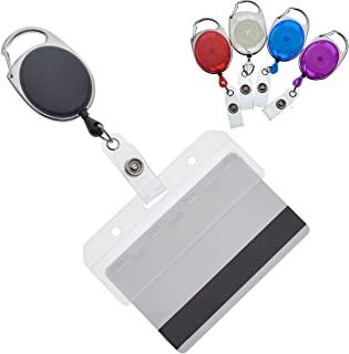 5 Pack - Premium Retractable Carabiner Badge Reels with Horizontal Half Card Badge Holders (Clear Plastic) - Leaves Magnetic Mag Stripe Exposed for POS & Swipe Cards by Specialist ID (Assorted Colors)