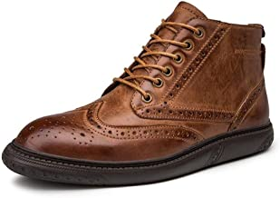 Xujw-shoes store, 2019 Mens New Lace-up Flats Brogue Ankle Boots for Men High Top Oxford Lace up Comfortable Breathable Leather Anti-Skid Platform Round Toe Burnished Style(Taller Optional