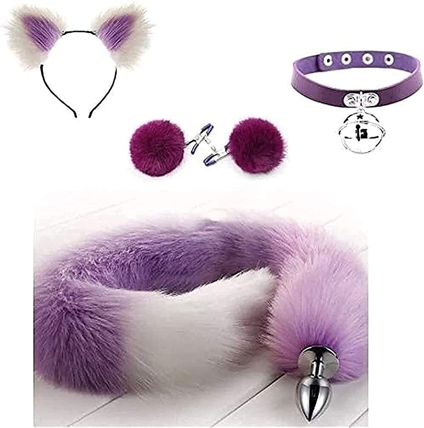 Max 66% OFF 4Pcs Set Purple Glamour Fox Tail Ḃuá¹-t Ears with Hairpi Plûg Ranking TOP1