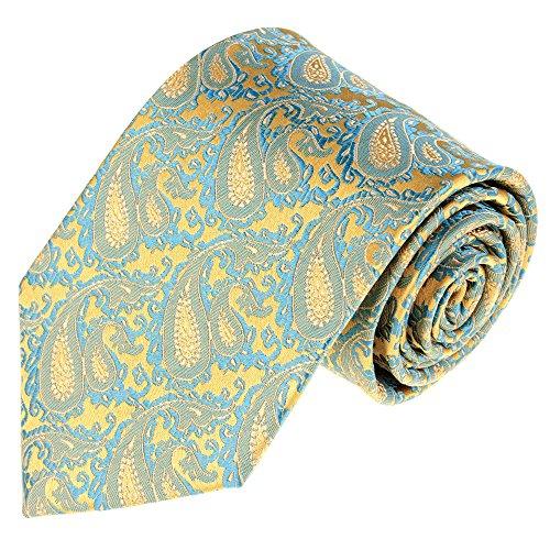 Lorenzo Cana - Marken Krawatte aus 100% Seide Blau Gelb Gold Limone Hellblau Babyblau Paisley - 12056