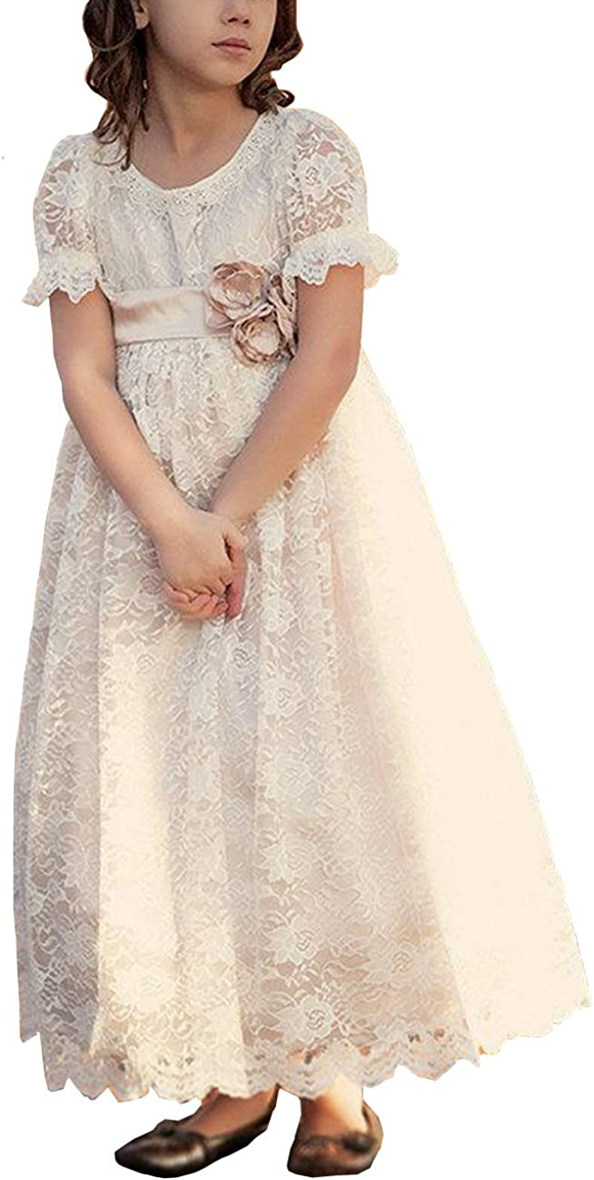 MuchXi Lace Cover Boho Rustic Tea Length A-Line Flower Girl Dress 2-14 Year Old