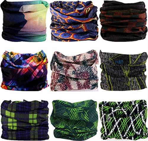 9PCS & 6PCS Multifunctional Stretchable Sport & Casual Headwear, Headband Scarf Bandanna Headwrap Mask Neckwarmer & More 12-in-1