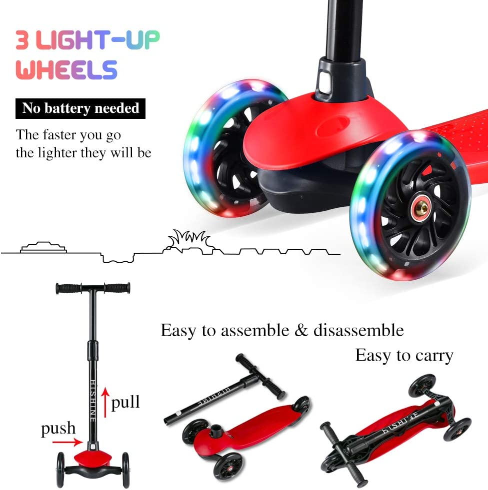 Hishine Kick Scooter for Kids with 3 Light up Wheels and Adjustable Height for 2-7 Years Old Ages Girls Boys Toddlers /& Children,Lean to Steer 3 Wheel Scooters