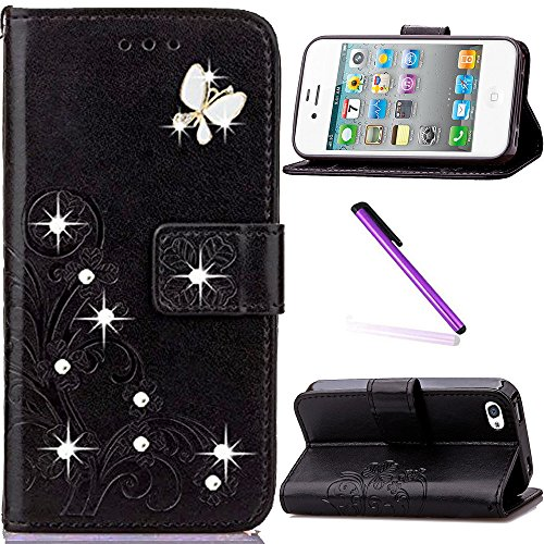iPhone 5C Case,LEECOCO 3D Bling Crystal Diamonds Lucky Clover Floral with Card Slots Flip Stand PU Leather Wallet Case for iPhone 5C with 1 x Stylus Pen Diamond Clover Black