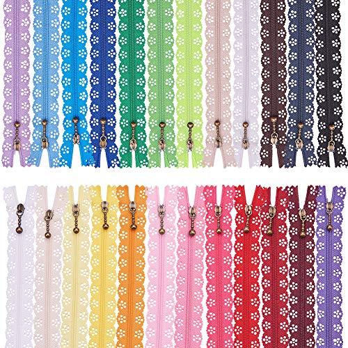 BENECREAT 72 Stücke 20 cm Nylon Spitze Reißverschlüsse DIY Spule Blumenspitze Reißverschluss für Nähen Schneider Handwerk Kleid Tasche Tuch, 24 Farbe