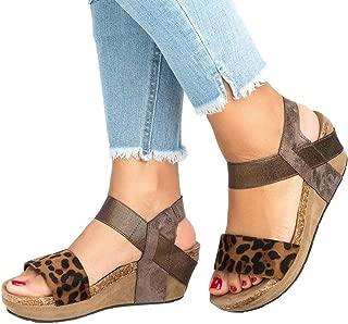 Realdo Women Leopard Sandals Open Toe Strappy Wedge Pu Leather Platform Shoes