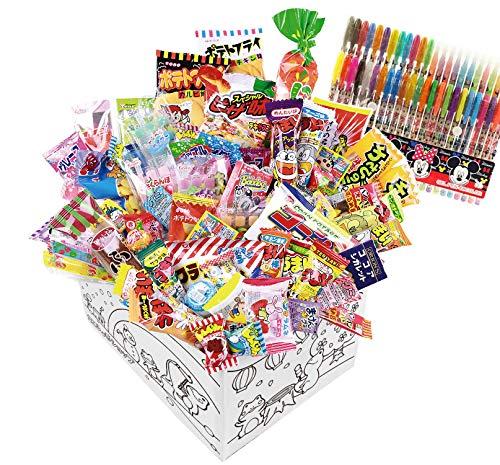 【カエルショップ オリジナル】駄菓子詰め合わせお楽しみ78点+48色ミッキーペンが入ったスペシャルセット! イベントやお誕生日やプレゼントに。