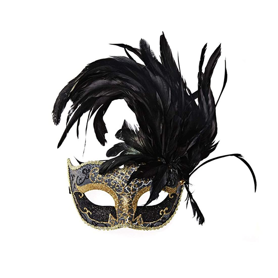 返済一人で母性Nanle ハロウィンマスクハーフフェザーマスクベニスプリンセスマスク美容レース仮面ライダーコスプレ (色 : Style A black)