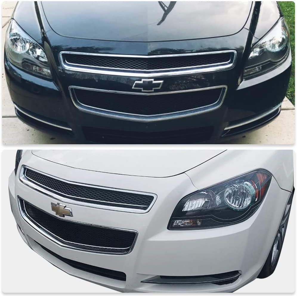Black Housing Headlight Assembly Set Compatible with 2008-2012 Chevy Malibu 4 Door Sealed Headlamp Replacement Passenger and Driver Side Front Lights