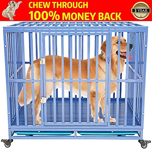 GCY Heavy Duty Dog Crate Cage Kennel Playpen Large Strong Metal for Large Dogs Cats with Two Prevent Escape Lock and Four Lockable Wheels Categories