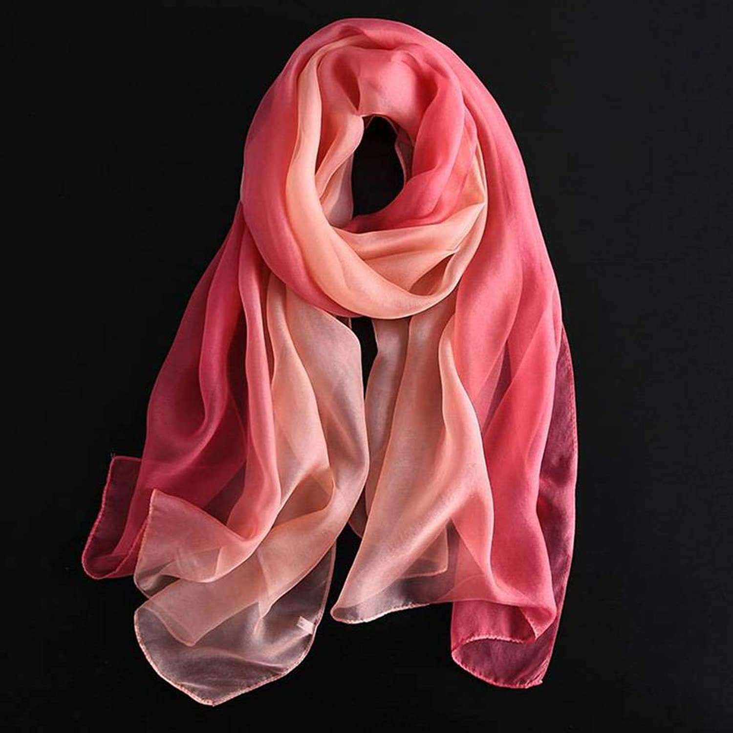 European and American Street Gradient color Silk Female Decoration Pure color Long Autumn and Winter Outdoor MultiFunctional Fashion Trend Wild Warm Shawl Scarf Gift, Chuan Han, Red