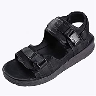 ZhaoXin Chen Sport Sandals for Men Summer Beach Shoes Back Hook&Loop Strap Dual Buckles Cutout Open Toe Flat Breathable Fabric Upper Backless (Color : Black, Size : 6.5 UK)