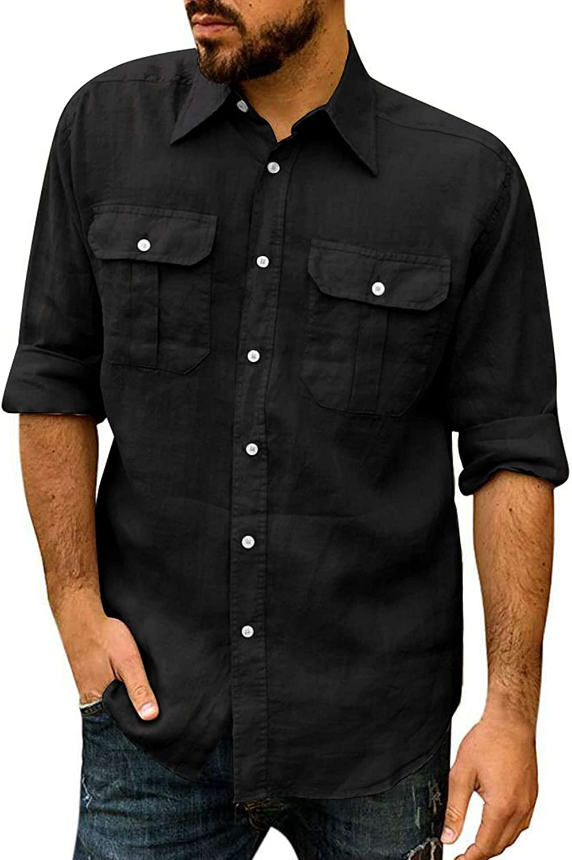 Lexiart Men's Casual Linen Button Down Shirt Long Sleeve Business Shirt Beach Summer