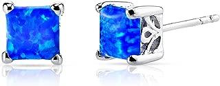 Created Blue Opal Princess Cut Stud Earrings Sterling Silver 1.25 Carats