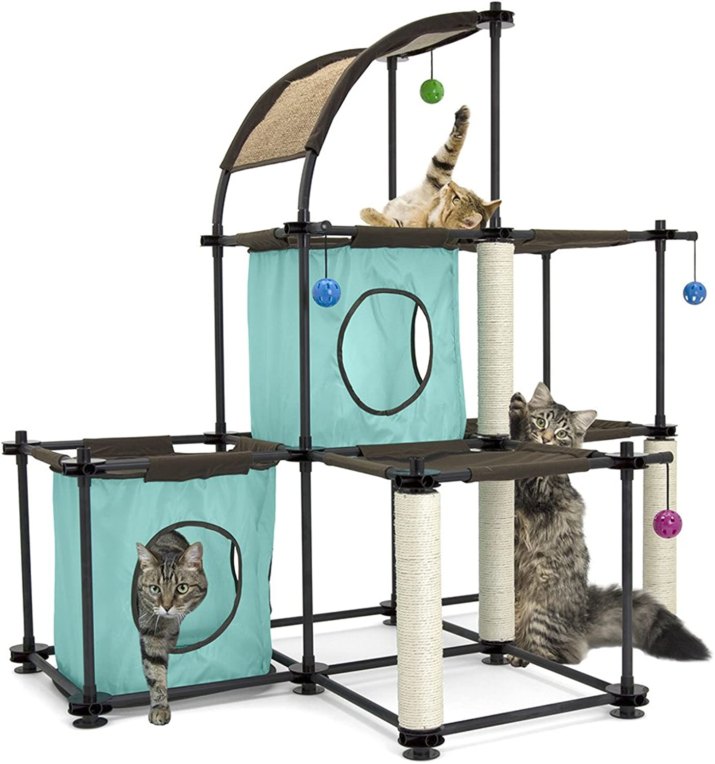 Kitty City Claw Mega Kit Cat Furniture, Raised Cat Food Bowl Collection, Stress Free Pet Feeder and Waterer, Cat Toy