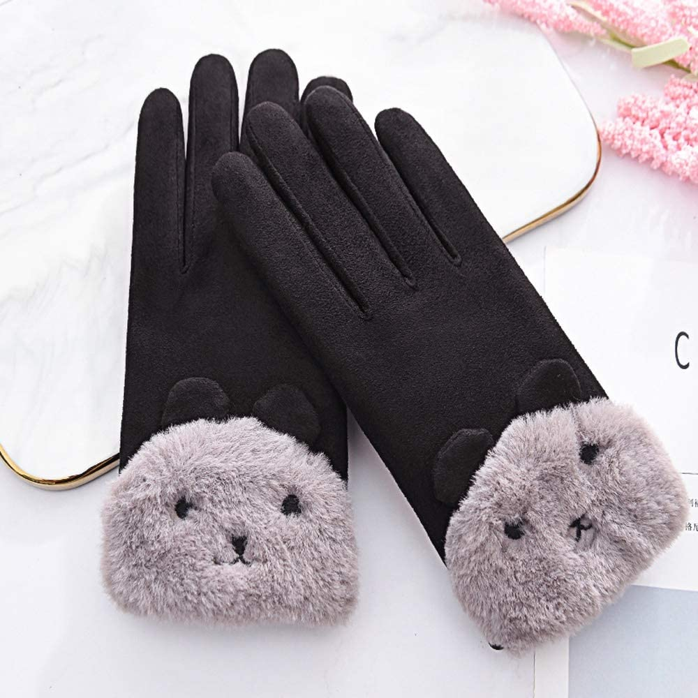 Rebily Woman Gloves Autumn Winter Plus Velvet Keep Warm Suede One Size Thicken Cold Protection Lovely Touch Screen Driving Ridding Gloves