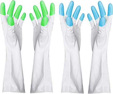 EXMART Rubber Cleaning Gloves for Kitchen/Bathroom/Housekeeping-Set of 2 Pairs (blue+green)