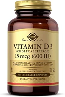 Vitamin D3 (Cholecalciferol) 15 mcg (600 IU) Vegetable Capsules - 120 Count
