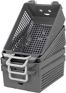 Jandson Plastic Stacking Baskets with Handle, Grey Basket, 4 Packs